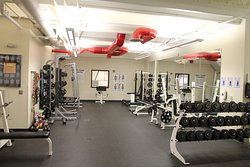 Free weight area in upstairs wellness center