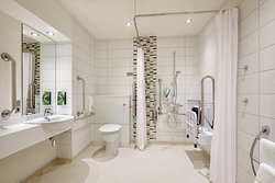 Premier Inn accessible wetroom with walk in shower
