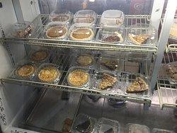 Pie case at Jamestown Pie Company.