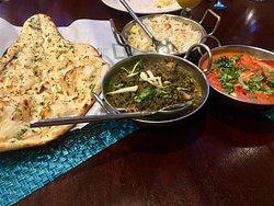 Palak paneer, Chicken Tikka Masala, Garlic Naan and Rice are a fabulous combo and a favorite amongst regulars