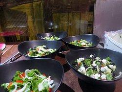 In Progress Greek Salad for 11 people Preparatifs 11 personnes