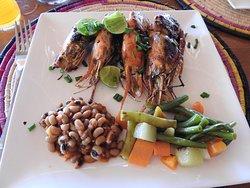 BBQd prawns main course