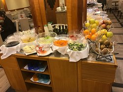 Fruit and veggie stations of the breakfast buffet.