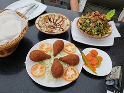 Fried kibbeh, mutabal, fattoush salad