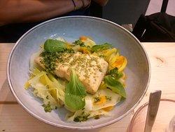 Légumes avec truite normande