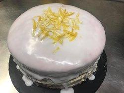 freshly baked lemon cake