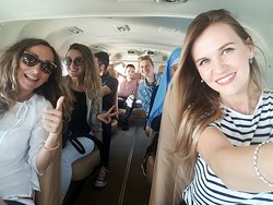 Happy guests inside our seaplane