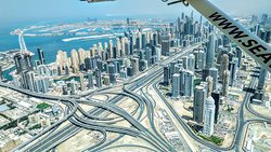 Aerial view of Dubai from a Seawings seaplane