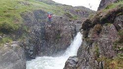 Big jumps in the Esk Gorge. Ghyll scrambling Eskdale