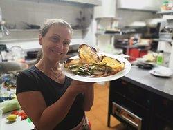 """Crepe salado """" La Milanese """" con, mozzarella, bacon, asparagos y huevo frito"""