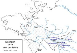 Carrière-Falunière-Musée de Channay-Sur-Lathan. Vue 28. Extension de La Mer des Faluns ( Dinard - Rennes - Nantes - Angers - Doué - Tours - Blois ). Réf. G. Dolfus et G. Lecointre. Avec Ajout des Falunières.