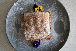 Bougatsa for breakfast  from Nostos in Hove