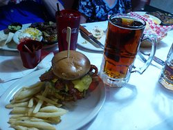 1 pound steak burger, minus the giant onion ring that goes on the top of the burger.