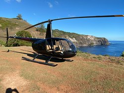 The helicopter on the cliffside landing