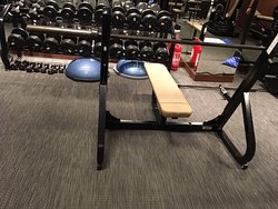 The gym has an impressive selection of free weights plus a bench press station and a Smith Machine.