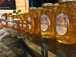 Assortment of Honey from nearby farms.