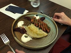 Duck Breast with Cabbage Gratin.