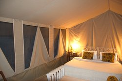 Inside our spacious and extremely comfortable tent.