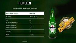 Heineken Lager Beer, or simply Heineken is a pale lager beer with 5% alcohol by volume produced by the Dutch brewing company Heineken International.