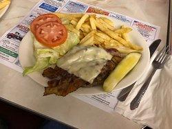 Bacon cheese burger platter with no bun
