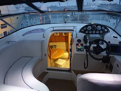 The inside of the yacht.