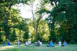 Outdoor yoga on the beautiful Lourensford Estate