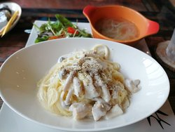 cream pasta with salad and soup