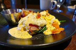 T. Cook's at the Royal Palms Resort & Spa, 5200 E Camelback Rd, Phoenix, AZ - Mediterranean Eggs Benedicxt w/ rosemary focaccia, smoked salmon, spinach, Hollandaise and caper relish