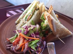 Sandwiches with fresh mix vegetable salad
