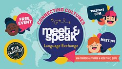 One of our most popular events, 2 years strong!  It's free, so come on down, meet some interesting people and practice your Spanish or English or French or Mandarin or Russian or Portuguese - Our language exchange attracts people from all over!  Starts promptly @ 8pm, come early and bring a friend (or not), we do fill up quickly!