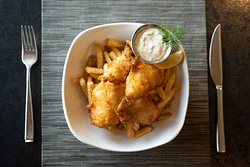 Earth and Ocean - Bellwether's classic fish and chips, tartar sauce