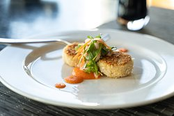 Dungeness Crab Cakes - Ginger carrot puree, heirloom carrot fennel kimchi