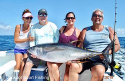 1 Blue Marlin est. 200lbs & a 90lb Tuna for Steve, Terry, Mark & Debbie Offshore fishing in Costa Rica aboard the 31' GOOD DAY.   Huge congrats to Mark who fought the Tuna for 2 hours & 15 minutes on 30lb class tackle, I am sure he thought the fight would never end but he stuck with it & got the job done!   Another GREAT DAY fishing in Costa Rica!