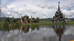 The stupa are half in the water in Samkar Lake,Myanmar.