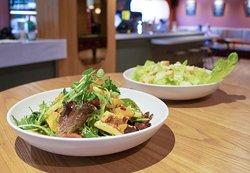 Haloumi salad and Caesar salad