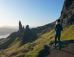 Plateau at the end of the trail, overlooking Old Man of Storr