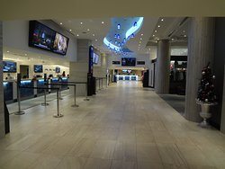 Check-in and walkway to restaurants on the lobby floor.
