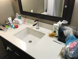 King room bathroom featured an adequately sized vanity and large sink. Plenty of room for us to spread out our stuff.