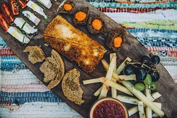 a selection of speciality cheeses from Greek islands and mainlandto enjoy a glass of wine!