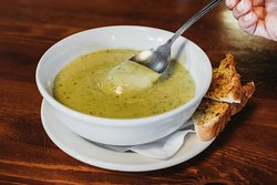 Our famous roasted Poblano Soup - make sure to ask your waitress how spicy it is today!