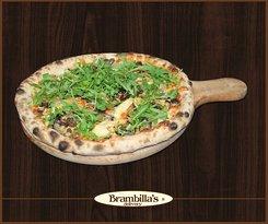 "Vegetariana ""Pomodoro, mozzarella, carciofi, olive Taggiasche, melanzane grigliate, rucola, olio extravergine"""