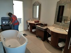 A very, very large Bathroom. There was a small TV in the mirror!