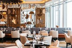 A modern and sleek restaurant interior.