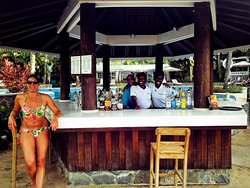 Tasha, Johnic and Desmond at the pool bar.