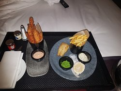Room service small plate meal, Seabass and fries 😍