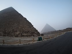 Giza pyramids early in the morning.  It gets busy when the gates open.