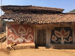 Paintings on the buildings of Adivasi homes are done by the women