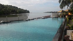 The pool jutting out into the bay