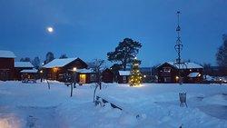 Vackert månsken över tunet i december
