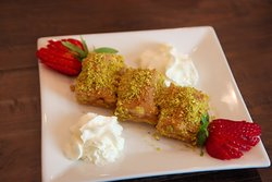 Baklava (Crispy filo dough layered with walnuts topped with honey simple syrup.)
